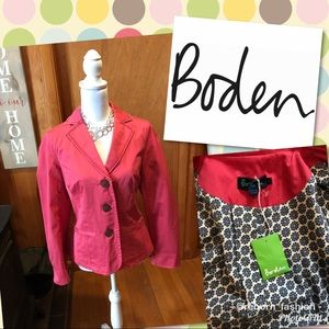 NEW! NWT BODEN Size 14 Coral Pink Cotton Jacket